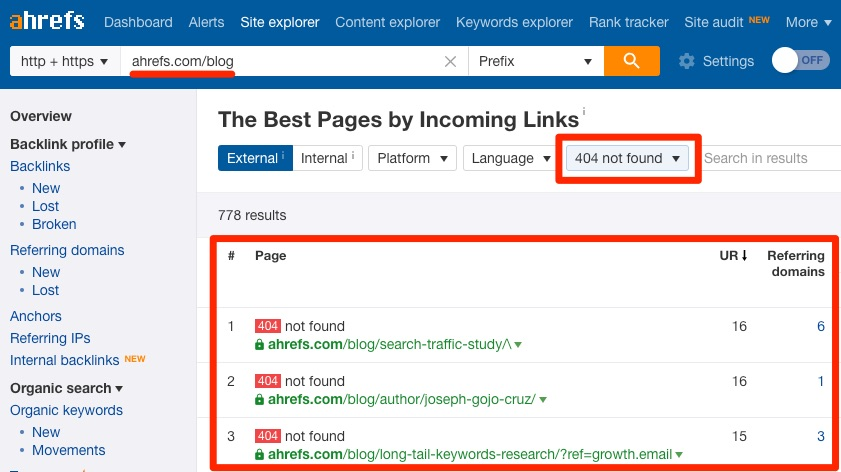 best by links 404 ahrefs