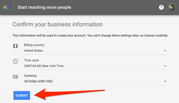 billing information google ads