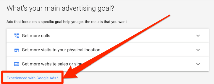 experienced with google ads button