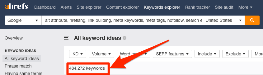 keyword ideas ahrefs keywords explorer