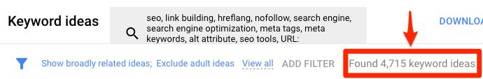 keyword ideas google keyword planner