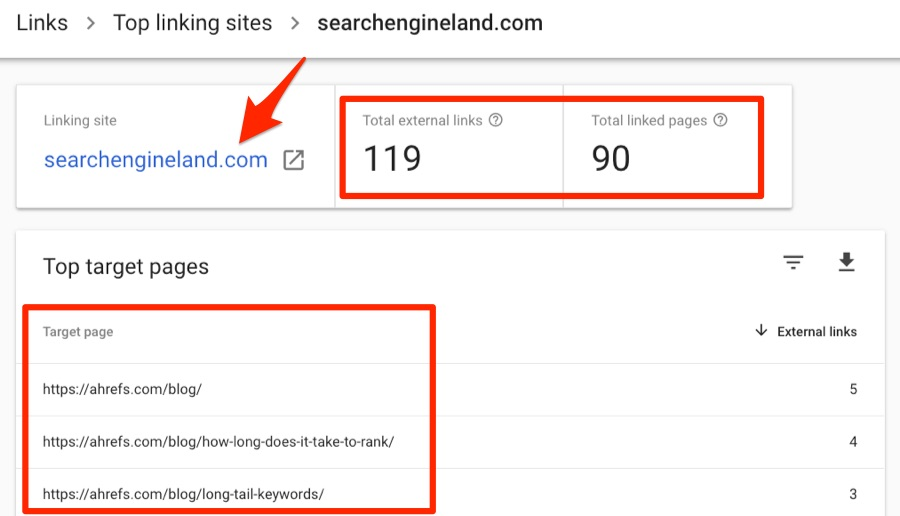 search engine land links search console
