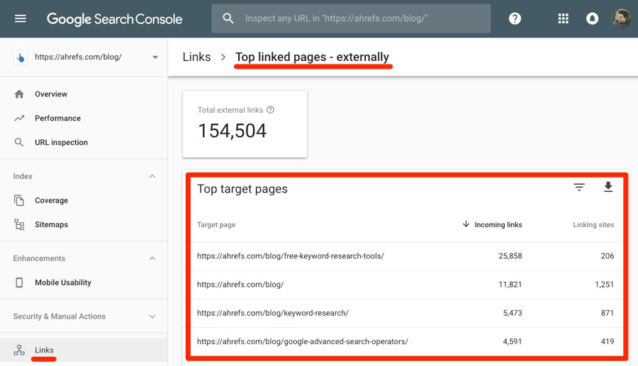 top linked pages search console