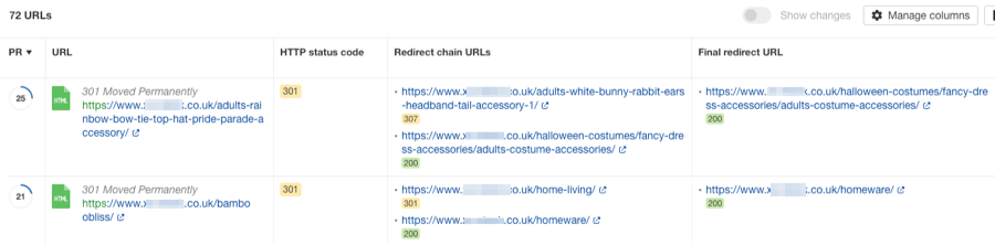 redirect chain report site audit
