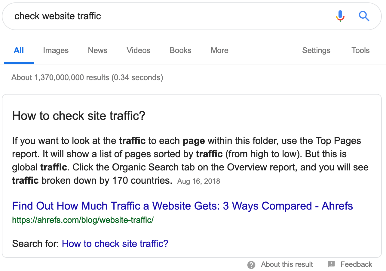 check website traffic featured snippet
