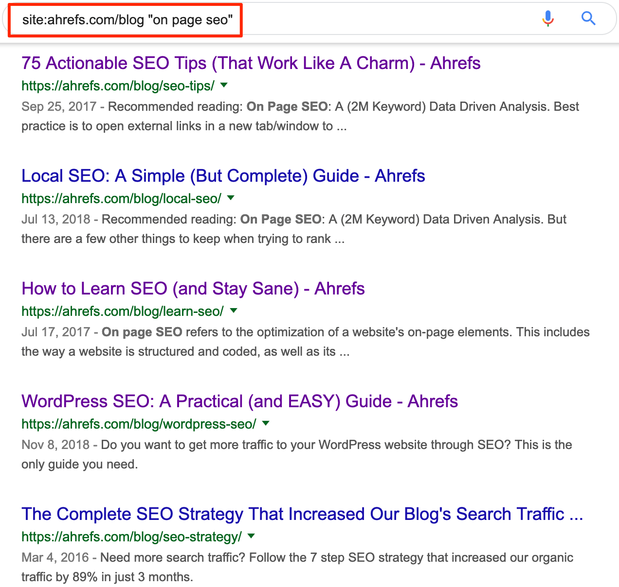 on page seo google search