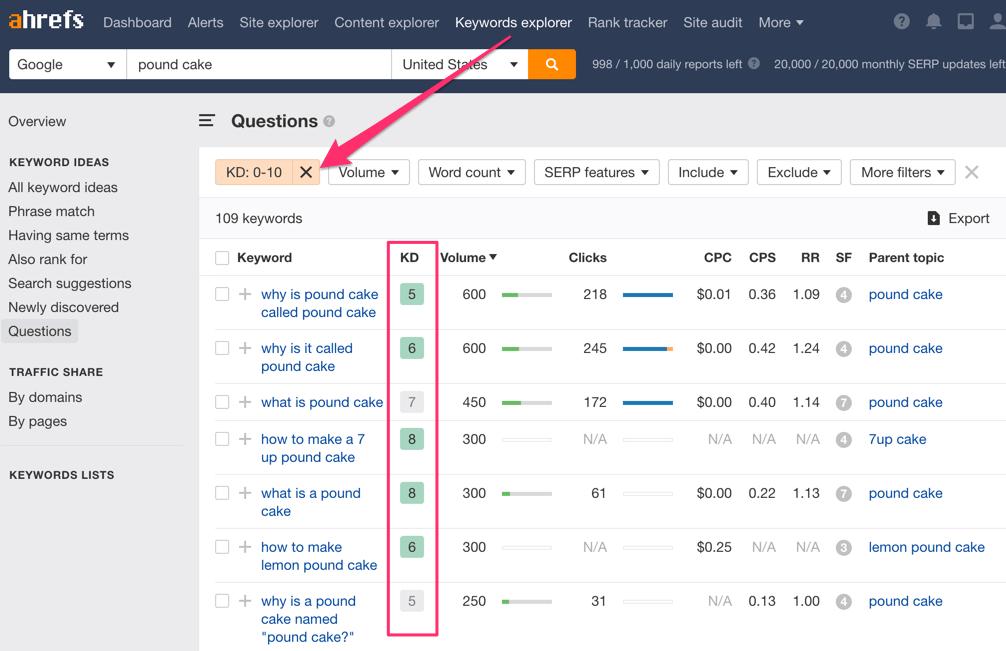 keywords explorer keyword difficulty