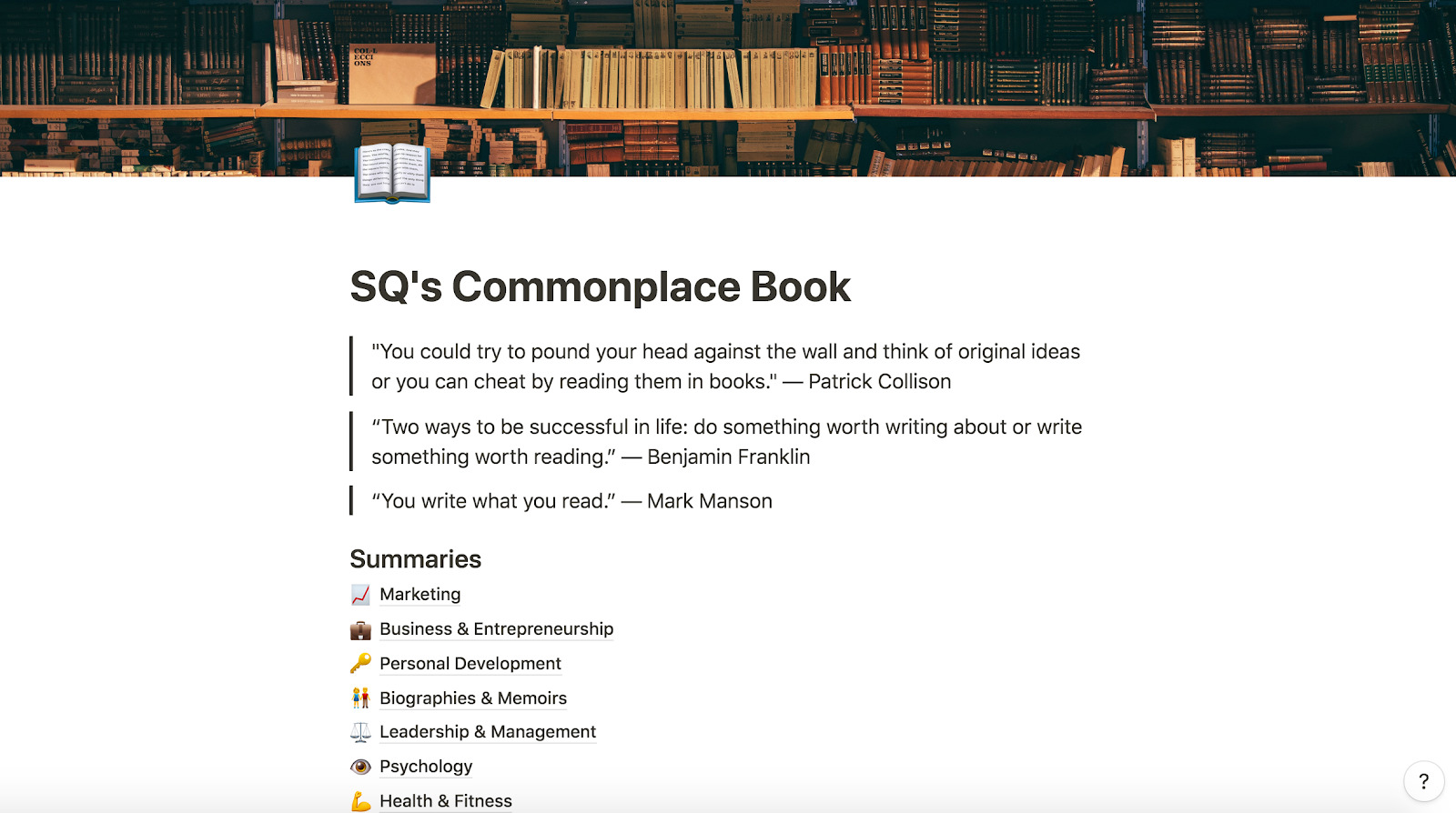 SQ s Commonplace Book