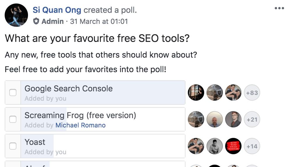 facebook seo tools poll