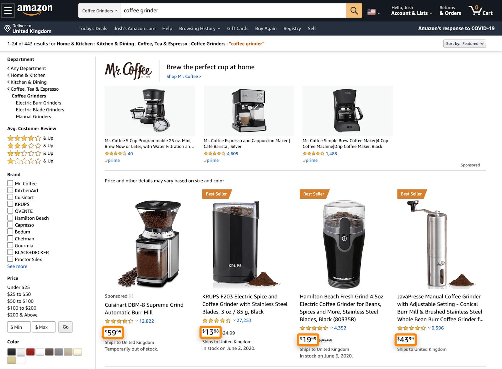 7 amazon product prices