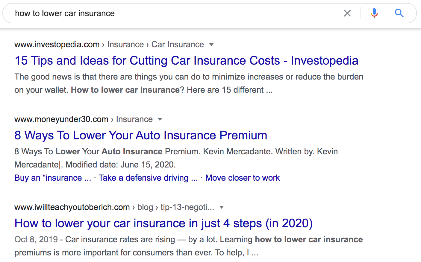 how to lower car insurance serps