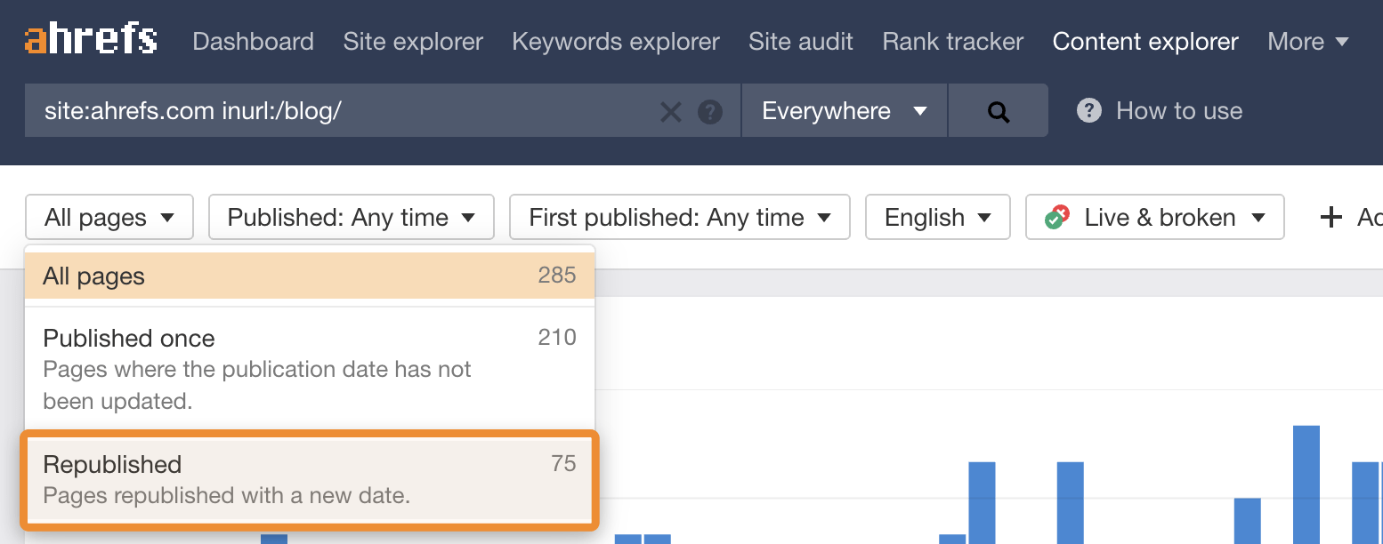 2 content explorer republished ahrefs