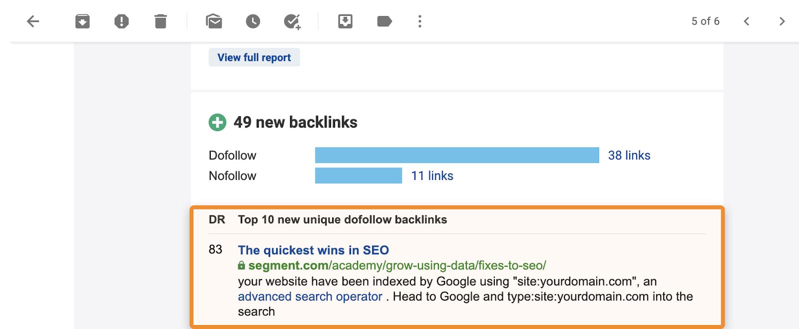 16 backlink email alert