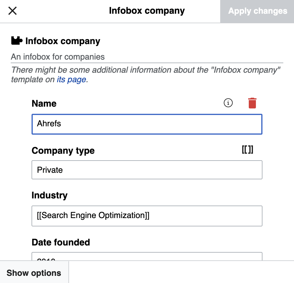 25 infobox template company