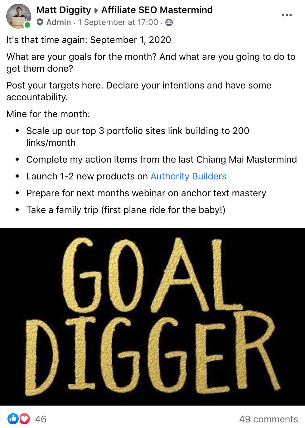 matt diggity goal setting