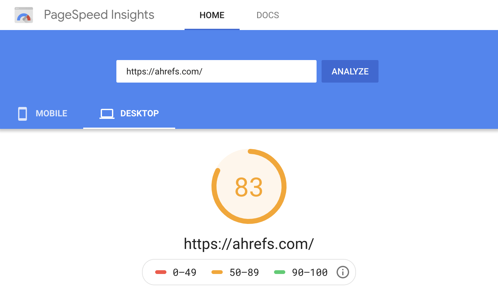 19 pagespeed insights
