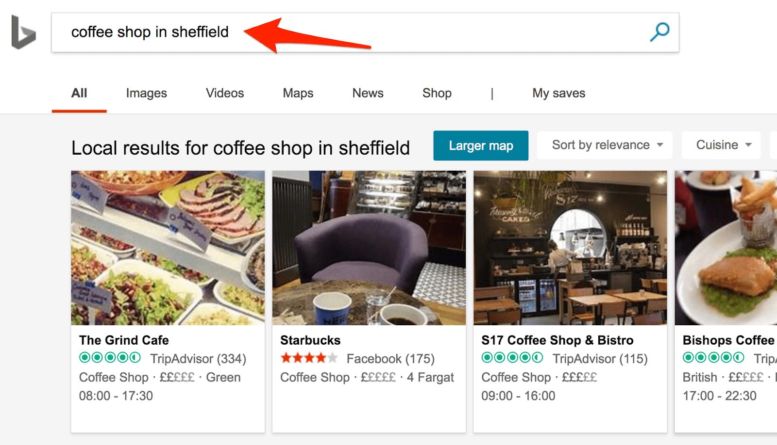 coffee shop in sheffield bing