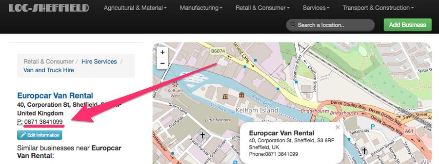 europcar incorrect phone number NAP
