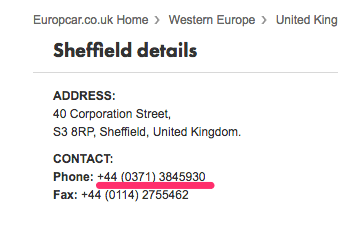 europcar sheffield phone number