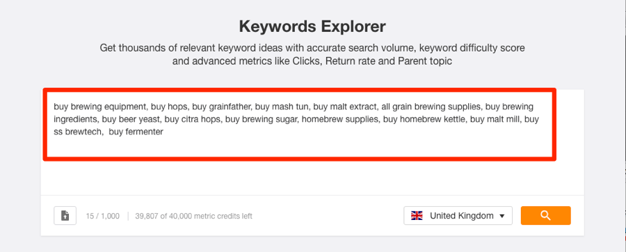 keywords explorer brewing keywords