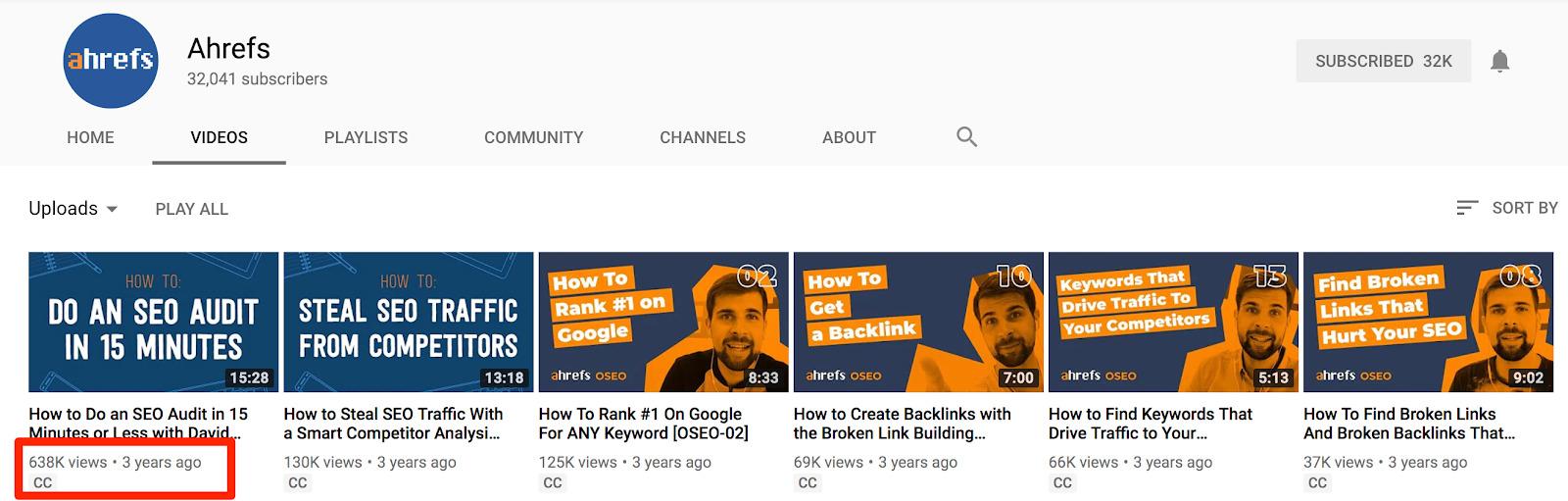 Ahrefs YouTube 1
