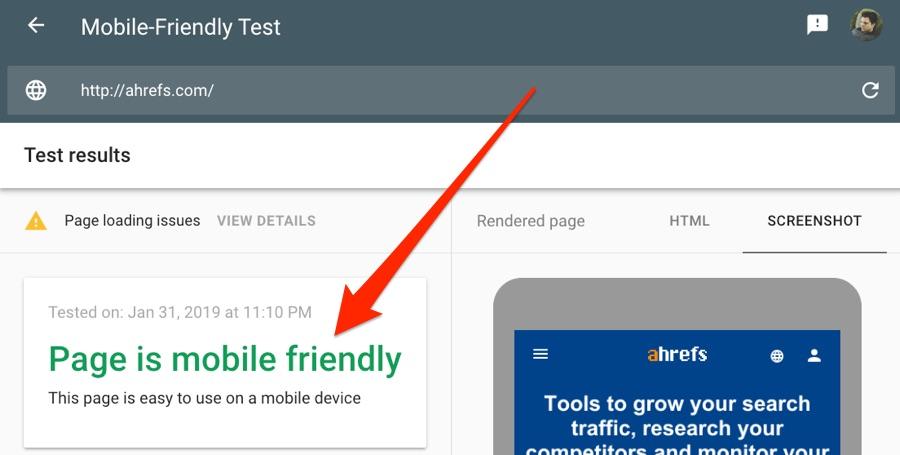 ahrefs mobile friendly