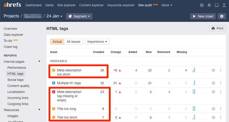 html tags report site audit
