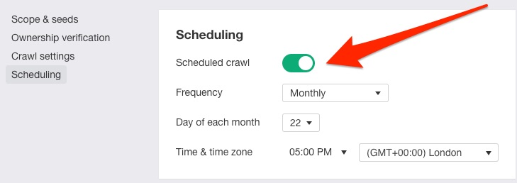 site audit scheduling