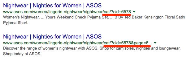 asos indexation url parameters