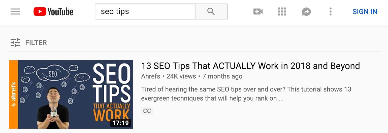 seo tips YouTube