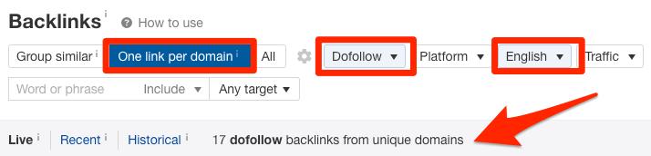 backlinks report filtered