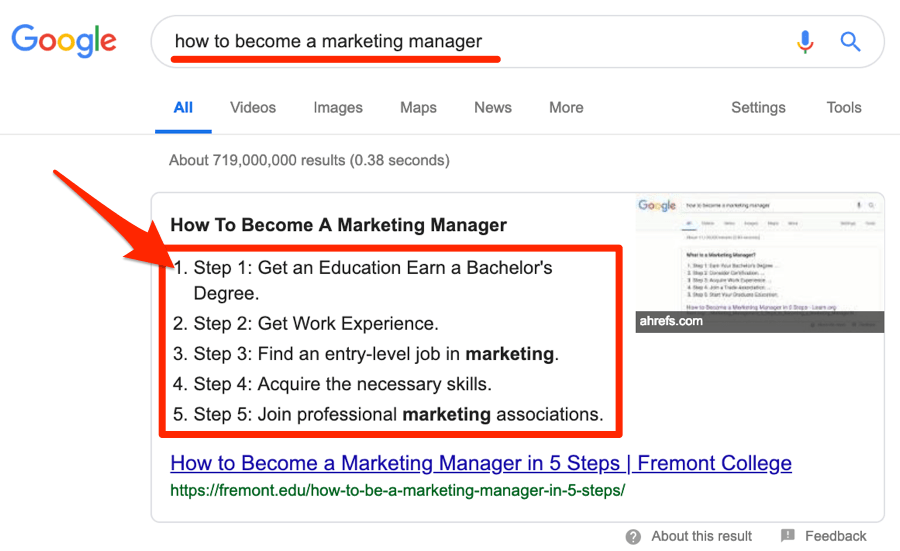 how to become a marketing manager snippet