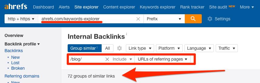 internal links to keywords explorer