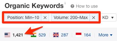 organic keywords report filtered