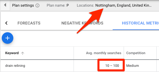 keyword planner location