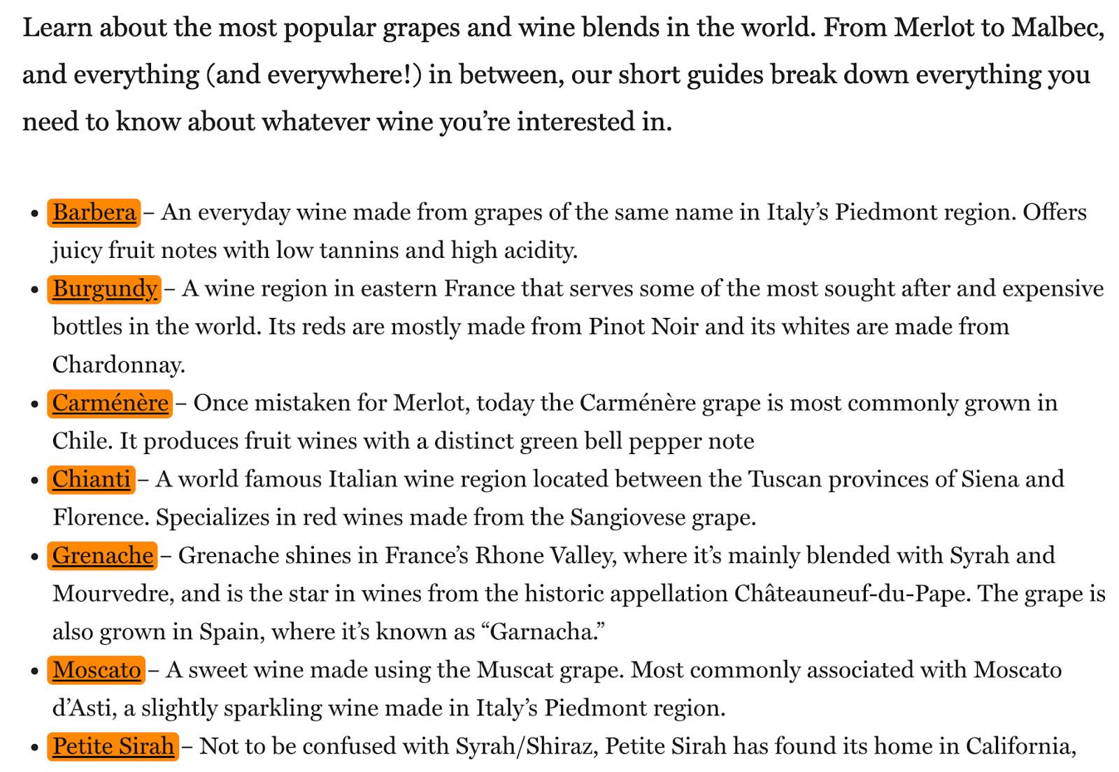 15 list of wines