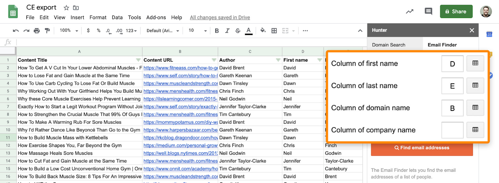 9 hunter google sheets