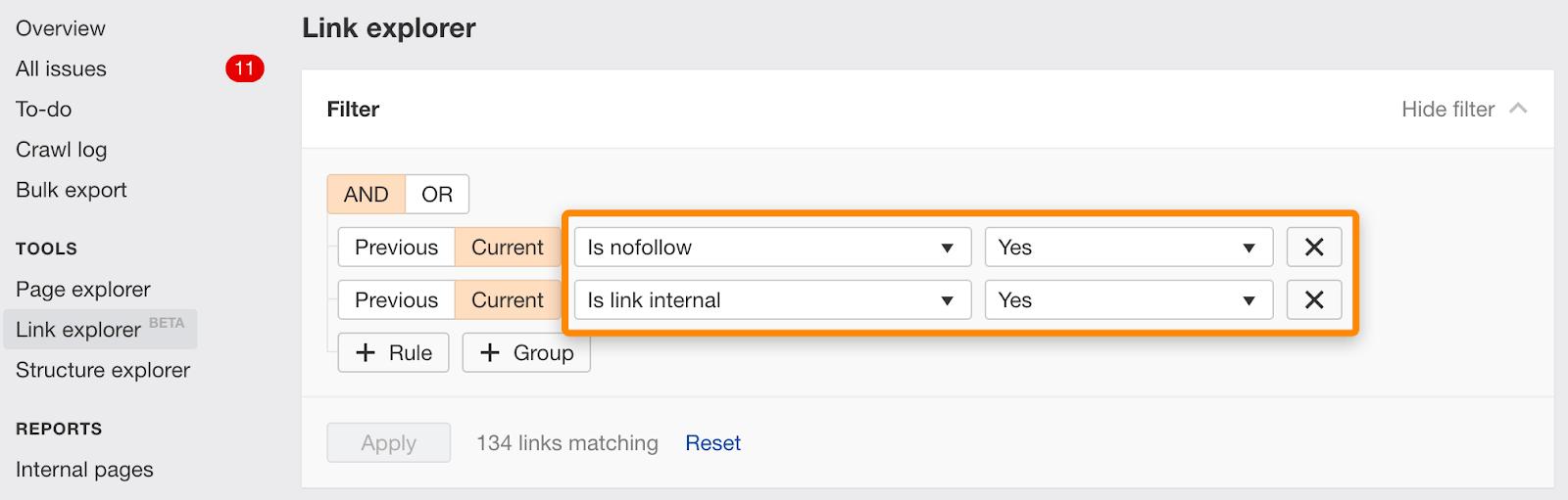 nofollow internal links