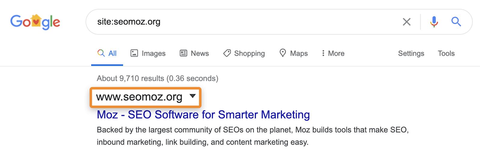 seomoz site search serp