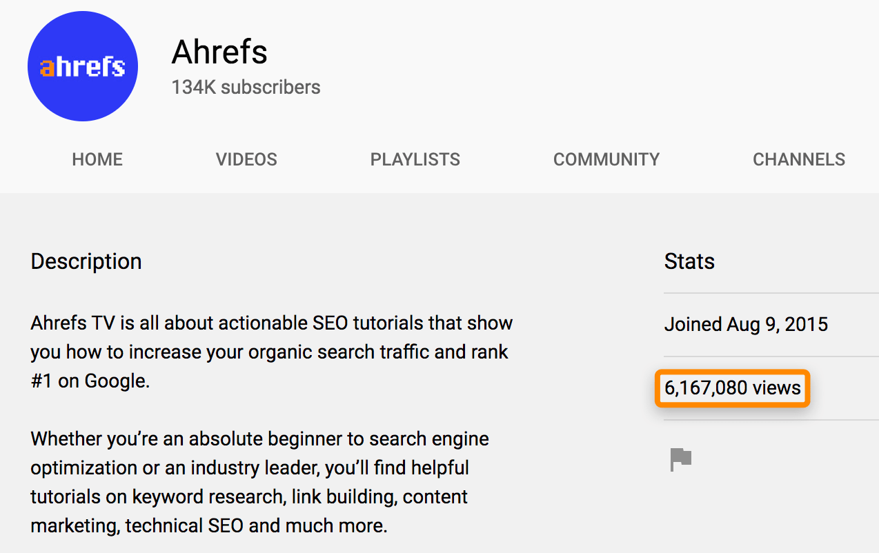 1 ahrefs youtube stats