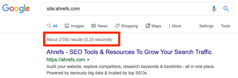 google site search results