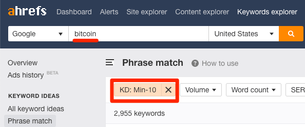 low difficult keywords ke