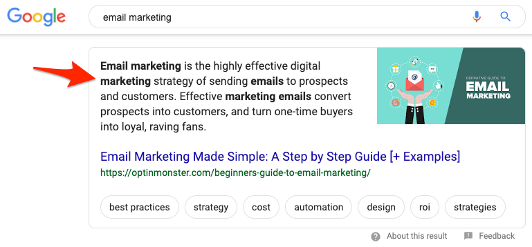 email marketing featured snippet