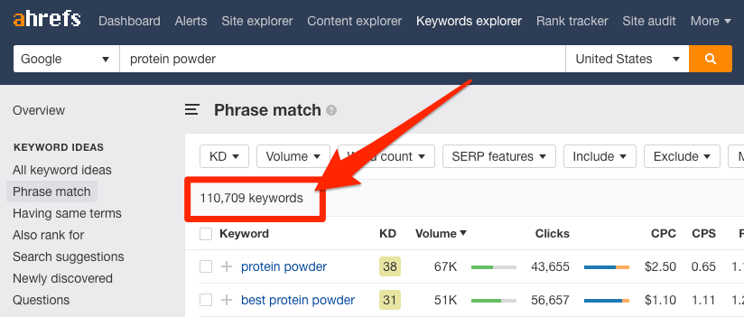 protein powder keywords explorer