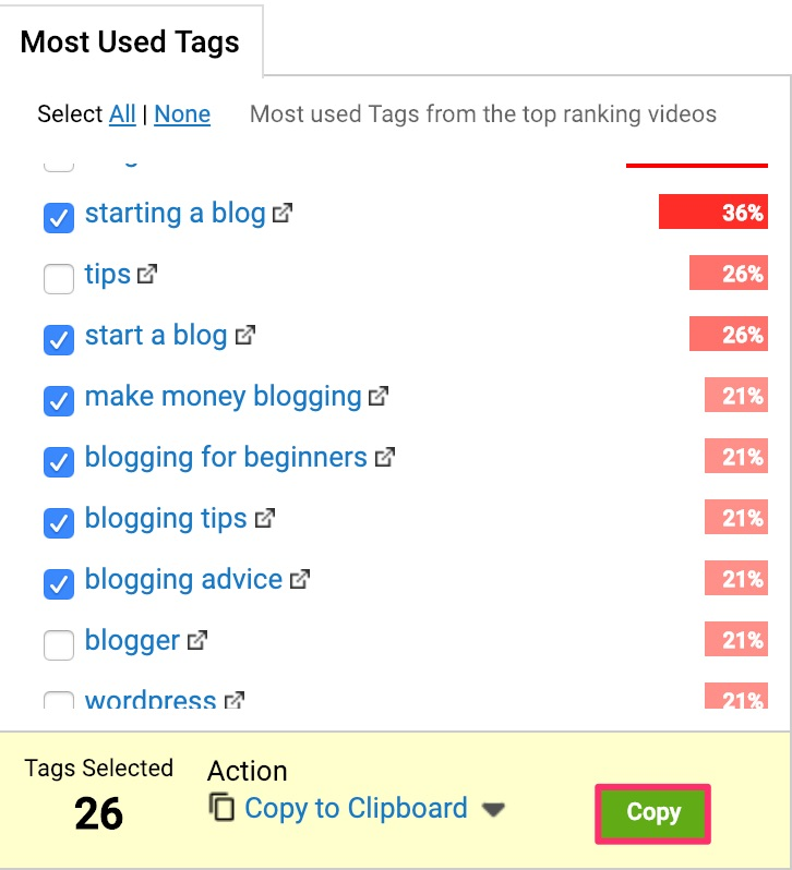 tubebuddy most used tags