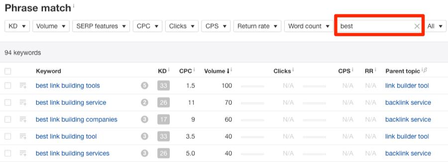 best link building keywords explorer