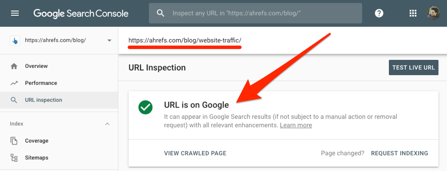 url is on google search console