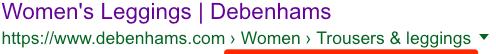 breadcrumbs google appearance