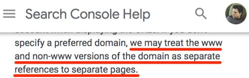 search console www non www