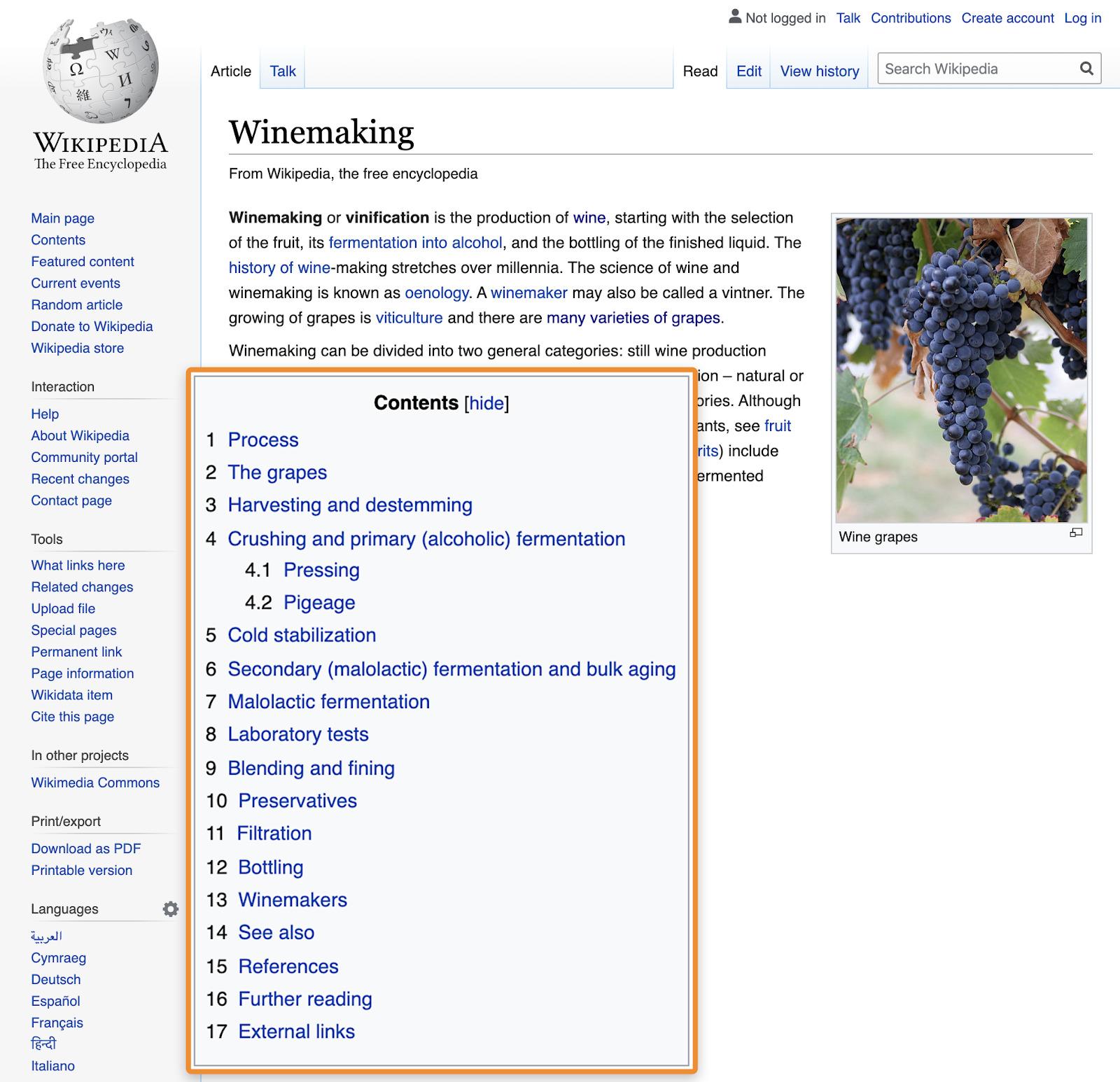 18 wikipedia toc